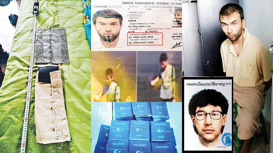 泰国警方于疑犯住所内,检获制造炸弹的工具。警方在疑犯寓所找到大批假护照。土籍疑凶的护照显示两个到期日(红框示)。疑犯相信当日持炸弹外出。小图为警方早前发出拼图追捕之黄衣炸弹客。