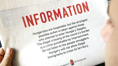 匈牙利在黎巴嫩及约旦数份报章中刊登广告,警告难民勿非法进入该国境内。
