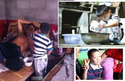 6东男童王剑宇独自背起照顾患上末期肺癌父亲的义务。