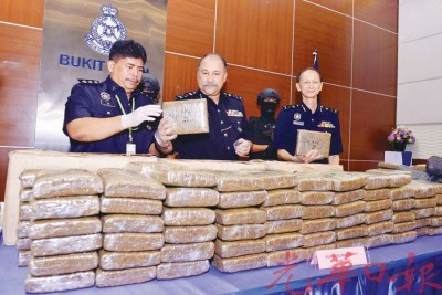 莫达(中)与立功警官星期一出示警方搜到的大麻,右是全国警察肃毒局高级警官江志坚高级助理总监。