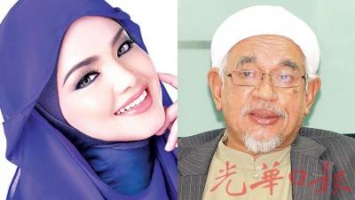 (左)西蒂诺哈丽查,(右)伊斯兰党主席拿督斯里哈迪阿旺。