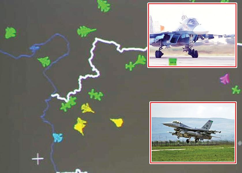 雷达显示美国(绿色)及俄罗斯(黄色)的战机很接近。右上为俄军苏-34战机,右下为美军F-16战机。