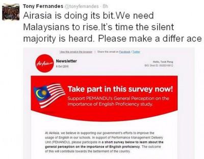 亚航在周二开始,发电邮予亚航会员,呼吁大家参与调查。