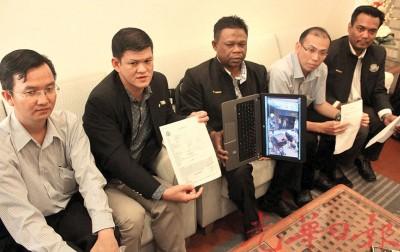 槟岛市政厅执法及公共教育小组委员会针对男子不满锁车轮事件召开记者会。左起为陈伟俊、王耶宗、慕哈末尤索夫、林文明及苏古马。