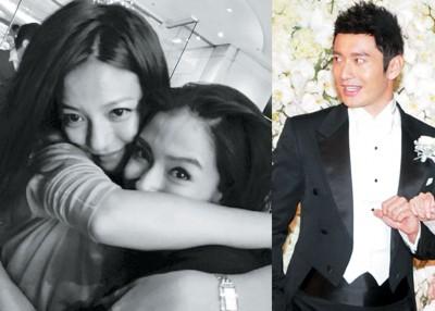 (左图)晓B结婚,赵薇分享与Baby合影。