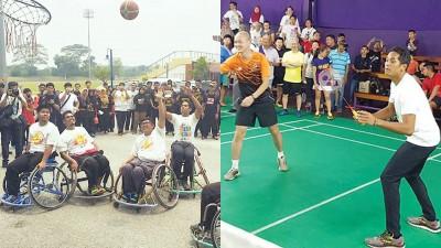 凯里(右二)在全国体育日跑了9个活动,也透过各项竞技运动展示了体育精神。凯里搭档王建民打友谊赛。