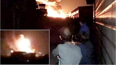 目击者称,该大火至少导致有限到三次爆炸,连起火球腾空。