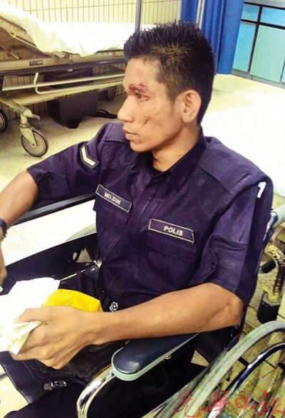 图为上周六凌晨险被可疑男子开车撞死的警员凯鲁丁。