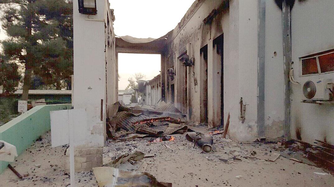 阿富汗昆都士无国界医生医院被炸后一片颓垣败瓦。(法新社照片)