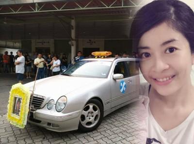 林筱倩的四名弟弟及丈夫弟弟为她扶灵,一众亲友及生前同事也前来送别