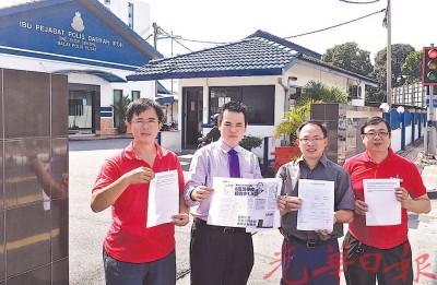 张哲敏(左2)针对国中及教会学校的拨款依然下落不明据情报案,左起为黄汉龙、张氏、张志坚及萧利华。