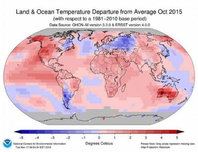 NOAA数显示,10月温度创下纪录新高。