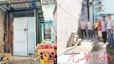 (左图)补前的仓库,已有2年历史。(右图)凤武宫理事会无奈重回储藏室地点,左起为陈嘉亮、王清基以及林瑞木(右1)。