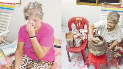 提到自己一生经历,陈来彩老泪纵横。陈来彩说,来自神庙布施的米粮,一般只够吃2个星期,也多亏有善士支持,减轻家里的负担。