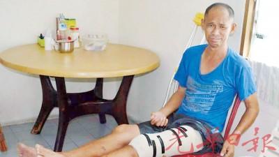 彭达成提起过去一场车祸导致如今残废的他,泪水在眼睛打转。