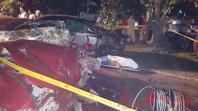 百福花园严重车祸,肇1死5轻重伤。