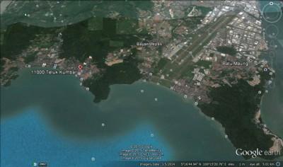 槟岛南岸卫星图。