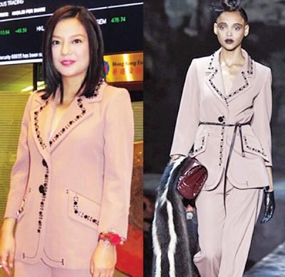 赵薇(左)穿名牌服饰,却遭网友讥老土。