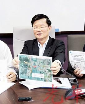 槟州交通大蓝图计划媒体汇报会,左起SRS财团工程总监司徒伟龙、槟州行政议员曹观友及槟州政府总工程师林天廷。