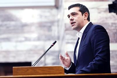 希腊总理齐普拉斯在投票前夕发表讲话。(法新社照片)