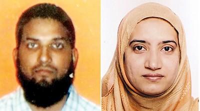 加州女枪手马利克(右)被指可能是恐怖分子,并为了发动恐怖袭击而嫁至美国,左为其丈夫法鲁克。(法新社照片)