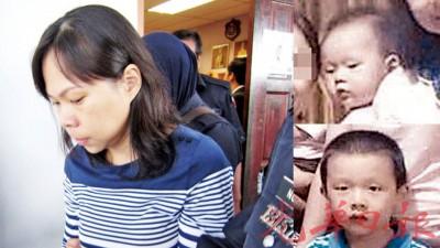 被告被押出法庭,神色呆滞。(小图上起)小死者郑聪胜(2岁)、小死者郑善严(6岁)。