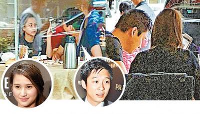 何超莲(左)跟霍启山以广州单独吃饭,2人口过同色上衣俨然情侣装,很有默契。