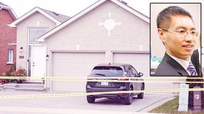 警方封锁事发单位。(小图)死者陈安德鲁是加拿大著名肠胃科医生。