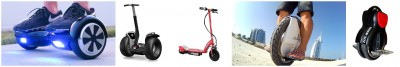 双轮平衡车(左起)、单杠平衡车、单杠电动滑轮板、单轮平衡车及单轮气轮车,受禁止寄舱或带上机。