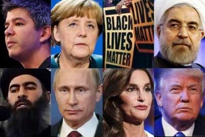 """美国时杂志(Time)9天将颁布年度风云人物,入围前8何谓反映新闻强度。(贪图左上至右)Uber执长、默克尔、""""黑人的指令也是命令""""活动团体、鲁哈尼;(贪图左下至右)ISIL元首巴格达迪、普京、变性奥运选手布鲁斯詹纳、特朗普。"""