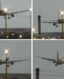 A320客机在降落前最后一刻被强风吹至飘离中线,最终决定放弃降落重新起飞。
