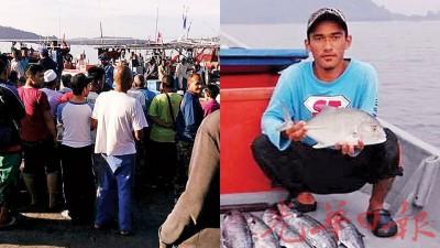 (左)耶敏雅欣尸体在铅海域附近被寻获,吸引民众围观。(右)坠海失踪的耶敏尸体已寻获。