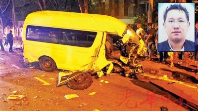 货车车头尽毁,死者亦当场身亡。(小图)黄斯益因货车失控撞灯柱,头部重创死亡。