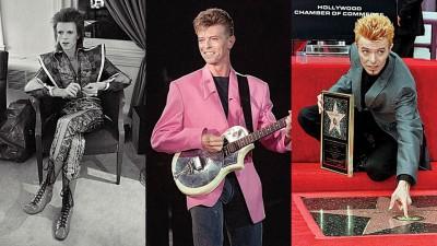 (左起)大卫鲍伊早期曾自创宇宙摇滚巨星Ziggy Stardust角色,化妆手法华丽,令人惊艳,图为他1972年以该角色现身。大卫鲍伊1991在巴黎演出。1997年留名好萊塢星光大道。