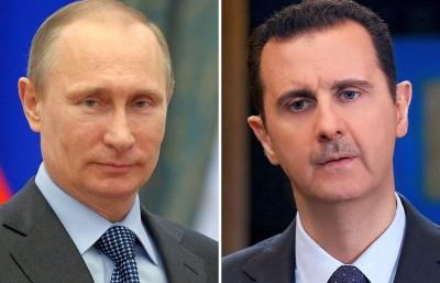 信指,叙利亚阿萨德朝(右)同俄罗斯普京朝(左)早前签订协议,也许俄军无限期进驻叙国来攻打ISIL。