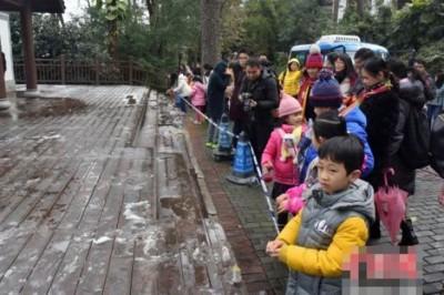 群众纷纷以警戒线外赏雪。