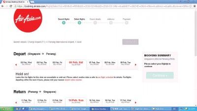 廉价航空于2月6日(农历十二月廿八)从新加坡返往槟城和吉隆坡的飞机票已售罄。
