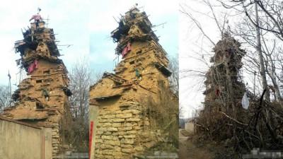 7层楼房仅用泥土沙石建成。