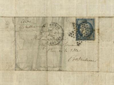 信封写有收信人地址--法国厄尔省蓬托德梅尔的一处住宅。