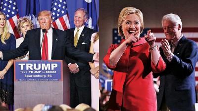 特朗普(左图中)则抛离其他竞争对手胜出选举。希拉莉(右图)今次小胜对手桑德斯。(法新社照片)