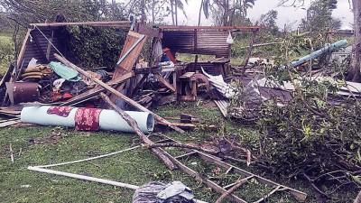 让风暴影响,斐济多所民居遭严重摧毁。(法新社照片)