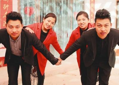 山西一对孪生兄弟与孪生姊妹日前共谐连理,婚礼更成为热门话题。