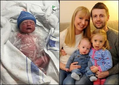 男婴艾萨克(左图)出生时被裹上保鲜膜。右图为德文特全家福。