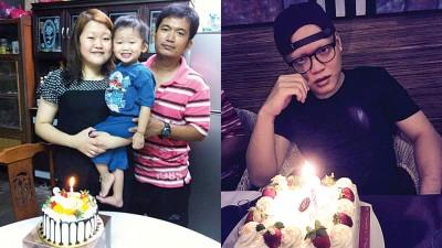 (左图)钟晴心(左)4年前与孩子及丈夫庆祝自己生日的合照。(右图)饭彬彬的家人及朋友今年已提前为他庆祝了。