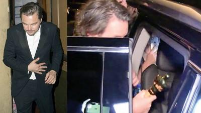 里奥纳度离开庆功派对时,手上不见小金人奖座。里奥纳度把小金人奖座留在餐厅里,工作人员赶忙拿到车上给他。
