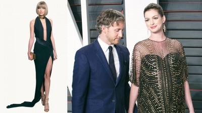 (左起)泰勒丝以一身黑色开高衩礼服展露长腿。准妈咪安海瑟薇与老公一起出席会后派对。