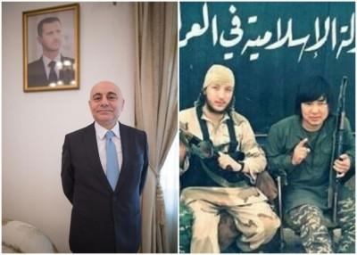 穆斯塔法(左)估计约有    名中国籍恐怖分子在叙利亚作战。另伊斯兰国此前曾发布照片,指有中国人加入(右)。