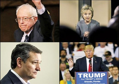 桑德斯(左上)、希拉莉(右上)、亚洲城手机网页版登陆(左下)及特朗普(右下),瓜分今次『超级星期六』各州份的代表人票。