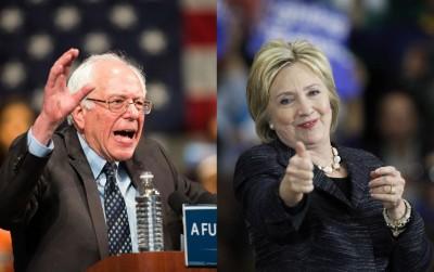 桑德斯(左)在密歇根州击败希拉莉(右)。(法新社照片)