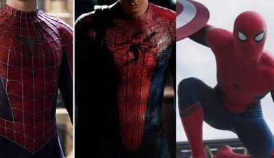 《美国队长3:英雄内战》中的蜘蛛人(右),会发现他的蜘蛛装与前2代蜘蛛人的有很大不同,少了很多细节。